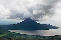 aerial photograph of the Momotombo volcano and Lago de Managua, Nicaragua | fotografía aérea del volcán Momotombo y el Lago de Managua, Nicaragua