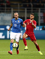 Football: Uefa Nations League Group 3match Italy vs Portugal at Giuseppe Meazza (San Siro) stadium in Milan, on November 17, 2018.<br /> Italy's Leonardo Bonucci (l) in action with Portugal's André Silva (r) during the Uefa Nations League match between Italy and Portugal at Giuseppe Meazza (San Siro) stadium in Milan, on November 17, 2018.<br /> UPDATE IMAGES PRESS/Isabella Bonotto