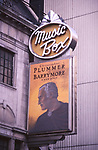 """Theatre Marquee for Christopher Plummer as John Barrymore in """"Barrymore"""" at the Music Box Theatre  on March 25, 1997 in New York City."""