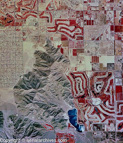 historical infrared aerial photograph of La Quinta, Riverside County, California, 1996