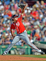 10 June 2012: Washington Nationals pitcher Tyler Clippard on the mound against the Boston Red Sox at Fenway Park in Boston, MA. Harper scored the game winning run in the 9th inning as the Nationals defeated the Red Sox 4-3 to sweep their 3-game interleague series. Mandatory Credit: Ed Wolfstein Photo
