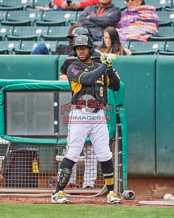 Eric Young Jr. (8) of the Salt Lake Bees during the game against the El Paso Chihuahuas in Pacific Coast League action at Smith's Ballpark on April 30, 2017 in Salt Lake City, Utah. El Paso defeated Salt Lake 12-3. This was Game 2 of a double-header originally scheduled on April 28, 2017. (Stephen Smith/Four Seam Images)