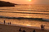 Sunset on Porthmeor beach.  St.Ives, Cornwall.