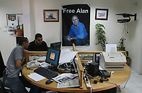 "Pictures of BBC Office  after the announcement A group calling itself Jaish-e-al- Islam, or the Army of Islam, said in a videotape that it kidnapped British Broadcasting Corp. journalist Alan Johnston, who was abducted in the Gaza Strip more than eight weeks ago.May/09/2007.""photo Bya fady Adwan"""