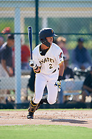 GCL Pirates shortstop Ji-Hwan Bae (2) follows through on a swing during a game against the GCL Yankees West on August 2, 2018 at Pirate City Complex in Bradenton, Florida.  GCL Pirates defeated GCL Yankees West 6-2.  (Mike Janes/Four Seam Images)