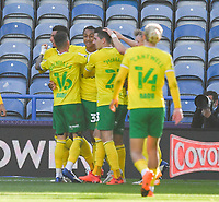 Norwich City's Adam Idah is congratulated on scoring his team's opening goal<br /> <br /> Photographer Dave Howarth/CameraSport<br /> <br /> The EFL Sky Bet Championship - Huddersfield Town v Norwich - Saturday September 12th 2020 - The John Smith's Stadium - Huddersfield<br /> <br /> World Copyright © 2020 CameraSport. All rights reserved. 43 Linden Ave. Countesthorpe. Leicester. England. LE8 5PG - Tel: +44 (0) 116 277 4147 - admin@camerasport.com - www.camerasport.com