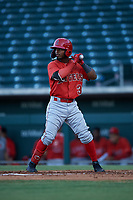 AZL Angels Kendy Moya (3) at bat during an Arizona League game against the AZL Cubs 1 on June 24, 2019 at Sloan Park in Mesa, Arizona. AZL Cubs 1 defeated the AZL Angels 12-0. (Zachary Lucy / Four Seam Images)
