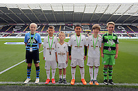Children mascots. Barclays Premier League match between Swansea City and Tottenham Hotspur played at The Liberty Stadium, Swansea on October 4th 2015