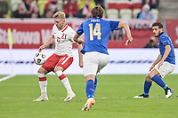 11th October 2020, The Stadion Energa Gdansk, Gdansk, Poland; UEFA Nations League football, Poland versus Italy; KAMIL JOZWIAK controls the ball as Chiesa closes in