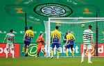 Celtic v St Johnstone…12.05.21  SPFL Celtic Park<br />Zdenek Zlamal is helpless as Kristoffer Ajer's deflected shot goes in<br />Picture by Graeme Hart.<br />Copyright Perthshire Picture Agency<br />Tel: 01738 623350  Mobile: 07990 594431