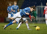 St Johnstone v Hamilton Accies....016.01.16  SPFL  McDiarmid Park, Perth<br /> Murray Davidson is sent flying by Grant Gillespie<br /> Picture by Graeme Hart.<br /> Copyright Perthshire Picture Agency<br /> Tel: 01738 623350  Mobile: 07990 594431