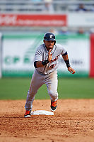 Detroit Tigers shortstop Dixon Machado (49) running the bases during a Spring Training game against the New York Yankees on March 2, 2016 at George M. Steinbrenner Field in Tampa, Florida.  New York defeated Detroit 10-9.  (Mike Janes/Four Seam Images)