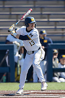 Michigan Wolverines catcher Griffin Mazur (13) at bat during the NCAA baseball game against the Illinois Fighting Illini on March 20, 2021 at Fisher Stadium in Ann Arbor, Michigan. Michigan won the game 8-1. (Andrew Woolley/Four Seam Images)