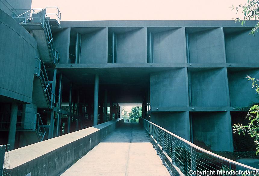 "Le Corbusier: Carpenter Center, Harvard. East, rear, elevation from Prescott St. Prominent ""briseloleils"" or sunshades."
