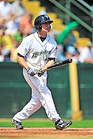 15 July 2010: Vermont Lake Monsters' outfielder Chad Mozingo in action against the Aberdeen IronBirds at Centennial Field in Burlington, Vermont. The Lake Monsters rallied in the bottom of the 9th inning to defeat the IronBirds 7-6 notching their league leading 20th win of the 2010 NY Penn League season. Mandatory Credit: Ed Wolfstein Photo