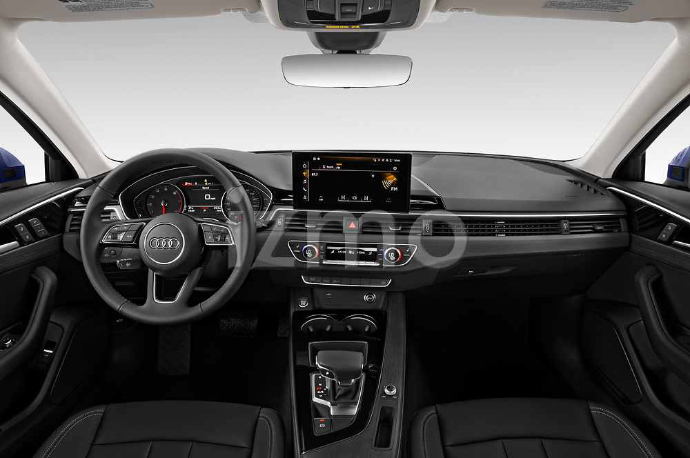 Stock photo of straight dashboard view of 2020 Audi A4-Sedan Premium 4 Door Sedan Dashboard