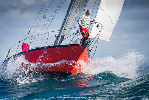 """Guido Cantini on the bow of his GGR 2022 Vancouver 34 """"Hannah of Cowes"""""""