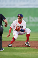 Auburn Doubledays shortstop Jose Sanchez (9) waits to receive a throw during a game against the Hudson Valley Renegades on September 5, 2018 at Falcon Park in Auburn, New York.  Hudson Valley defeated Auburn 11-5.  (Mike Janes/Four Seam Images)