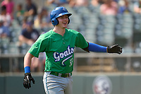 Hartford Yard Goats Michael Toglia (55) after hitting a home run during a game against the Somerset Patriots on September 12, 2021 at TD Bank Ballpark in Bridgewater, New Jersey.  (Mike Janes/Four Seam Images)