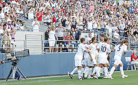 USA fans celebrate the USA goal with the players. USA defeated Grenada 4-0 during the First Round of the 2009 CONCACAF Gold Cup at Qwest Field in Seattle, Washington on July 4, 2009.