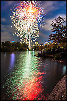 Fireworks in Central Park with reflections.