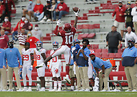 Arkansas wide receiver De'Vion Warren (10) reaches for a pass, Saturday, October 17, 2020 during the second quarter of a football game at Donald W. Reynolds Razorback Stadium in Fayetteville. Check out nwaonline.com/201018Daily/ for today's photo gallery. <br /> (NWA Democrat-Gazette/Charlie Kaijo)