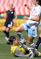 Erin McLeod #18 of Washington Freedom saves at the feet of Karen Carney #14 of Chicago Red Stars during a WPS match at RFK Stadium on June 13 2009, in Washington D.C.