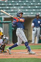 Luis Liberato (51) of the Tacoma Rainiers at bat against the Salt Lake Bees at Smith's Ballpark on May 16, 2021 in Salt Lake City, Utah. The Bees defeated the Rainiers 8-7. (Stephen Smith/Four Seam Images)
