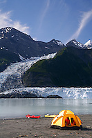 Camping near Cascade Glacier in Harrimon Fiord, Prince William Sound, Chugach National Forest, Alaska.
