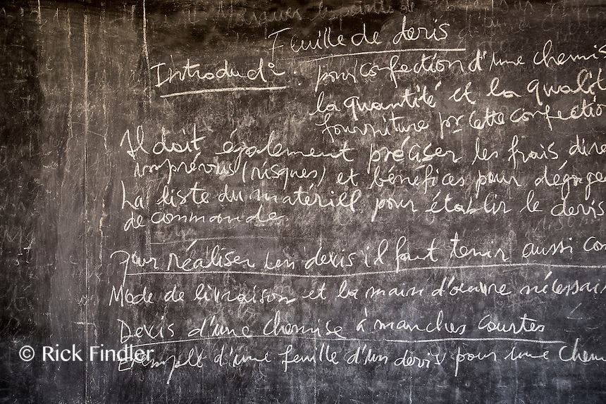 BURUNDI, Ruyigi: 10 June 2015 Ruyigi Re-education Centre Feature.<br /> See accompanying article for general information. <br /> Pictured: Information about what fabrics to use and when can be seen on a chalk board during a skills lesson. <br /> Rick Findler / Story Picture Agency