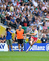 Nick Evans of Harlequins takes a penalty kick during the Premiership Rugby Round 1 match between London Irish and Harlequins at Twickenham Stadium on Saturday 6th September 2014 (Photo by Rob Munro)