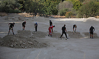 Pictured: Specialist search officers go through rubble by the farmhouse where Ben Needham disappeared from in Kos, Greece. Monday 10 October 2016<br />Re: Police teams led by South Yorkshire Police are searching for missing toddler Ben Needham on the Greek island of Kos.<br />Ben, from Sheffield, was 21 months old when he disappeared on 24 July 1991 during a family holiday.<br />Digging has begun at a new site after a fresh line of inquiry suggested he could have been crushed by a digger.