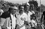 UGO TOGNAZZI CON CLAY RAGAZZONI<br /> TORNEO TENNIS PARMALAT ROMA 1978