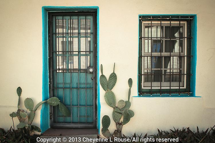 White Adobe with Turquoise Window and Door - Arizona