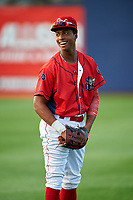 Williamsport Crosscutters center fielder Malvin Matos (26) warms up before a game against the Mahoning Valley Scrappers on July 8, 2017 at BB&T Ballpark at Historic Bowman Field in Williamsport, Pennsylvania.  Williamsport defeated Mahoning Valley 6-1.  (Mike Janes/Four Seam Images)