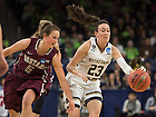 Mar. 20, 2015; Michaela Mabrey drives to the net against Montana in the first round of the NCAA Tournament at the Purcell Pavilion. Notre Dame defeated Montana 77 to 43. Photo by Barbara Johnston/University of Notre Dame)