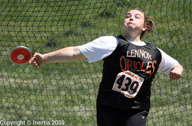 SPEARFISH, SD - May 29: Haley Covias of Lennox throws the discus during the finals Friday at the Class A State Track Meet in Spearfish. (Photo by Dave Eggen/Inertia)