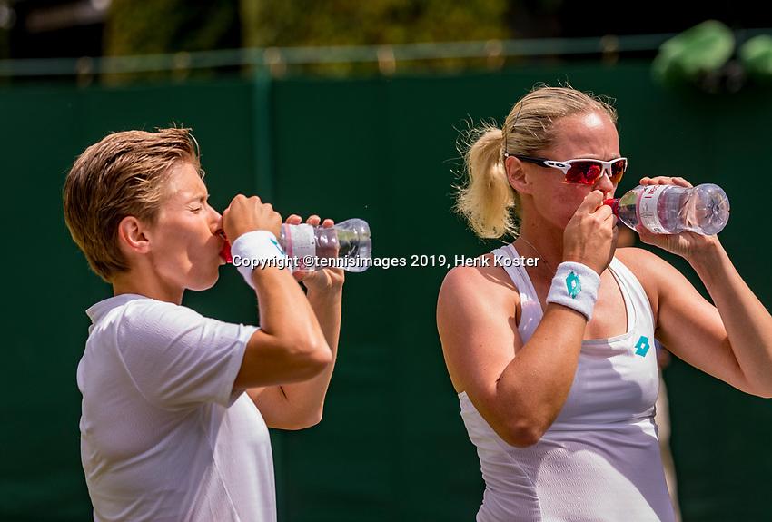 London, England, 8 July, 2019, Tennis,  Wimbledon, women's doubles Demi Schuurs (NED) and Anna-Lena Groenefeld (GER) (R)<br /> Photo: Henk Koster/tennisimages.com