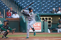 Malique Ziegler (2) of the Augusta GreenJackets at bat against the Greensboro Grasshoppers at First National Bank Field on April 10, 2018 in Greensboro, North Carolina.  The GreenJackets defeated the Grasshoppers 5-0.  (Brian Westerholt/Four Seam Images)