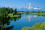 View of Mt. Moran from Oxbow Bend, Grand Teton National Park, Wyoming, USA