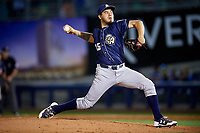 San Antonio Missions relief pitcher Cesar Vargas (15) delivers a pitch during a game against the Tulsa Drillers on June 1, 2017 at ONEOK Field in Tulsa, Oklahoma.  Tulsa defeated San Antonio 5-4 in eleven innings.  (Mike Janes/Four Seam Images)