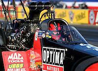 Nov 7, 2013; Pomona, CA, USA; NHRA top fuel dragster driver David Grubnic during qualifying for the Auto Club Finals at Auto Club Raceway at Pomona. Mandatory Credit: Mark J. Rebilas-