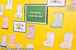 k-8 Parochial School Bronx New York bulletin board language arts encouraging children to think of synonyms horizontal