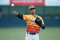 Johan Cruz (5) of the Los Rapidos de Kannapolis warms up in the outfield prior to the game against the West Virginia Power at Kannapolis Intimidators Stadium on July 25, 2018 in Kannapolis, North Carolina. The Los Rapidos defeated the Power 8-7 in game two of a double-header. (Brian Westerholt/Four Seam Images)