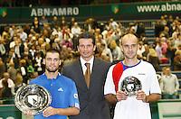 25-2-07,Tennis,Netherlands,Rotterdam,ABNAMROWTT, Ivan Ljubicic   and Mikhail Youzhny with tournament director Richard Krajicek