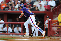 Shortstop Jason Stolz #2 of the Clemson Tigers swings at a pitch during a game against the South Carolina Gamecocks at Carolina Stadium on March 3, 2012 in Columbia, South Carolina. The Gamecocks defeated the Tigers 9-6. Tony Farlow/Four Seam Images.