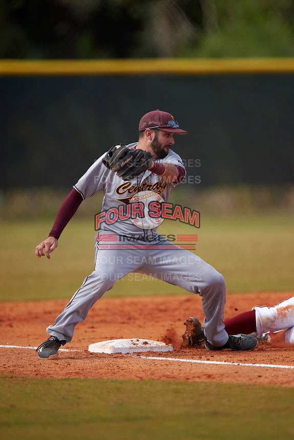 Central Michigan Chippewas third baseman Morgan Oliver (5) during a game against the Boston College Eagles on March 8, 2016 at North Charlotte Regional Park in Port Charlotte, Florida.  Boston College defeated Central Michigan 9-3.  (Mike Janes/Four Seam Images)