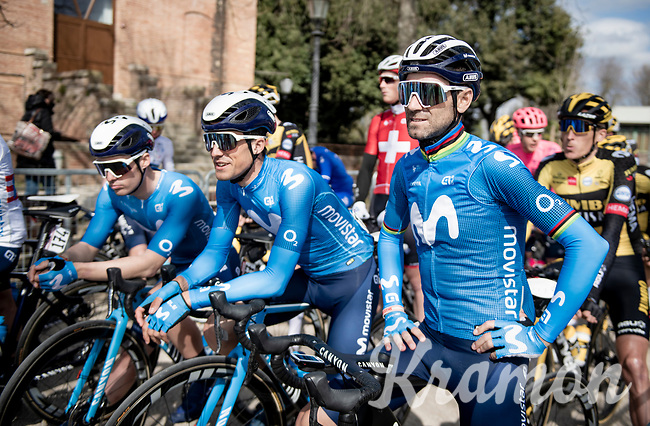40yr old Alejandro Valverde (ESP/Movistar) at the race start in Siena<br /> <br /> 15th Strade Bianche 2021<br /> ME (1.UWT)<br /> 1 day race from Siena to Siena (ITA/184km)<br /> <br /> ©kramon