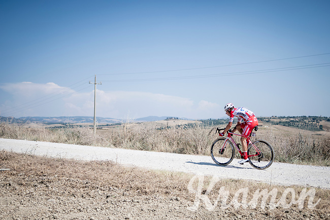 Simon Pellaud (SUI/Androni Giocattoli - Sidermec) as the sole race leader<br /> <br /> 14th Strade Bianche 2020<br /> Siena > Siena: 184km (ITALY)<br /> <br /> delayed 2020 (summer!) edition because of the Covid19 pandemic > 1st post-Covid19 World Tour race after all races worldwide were cancelled in march 2020 by the UCI