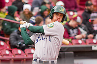 Beloit Snappers infielder Trent Gilbert (3) on deck during a Midwest League game against the Wisconsin Timber Rattlers on April 10th, 2016 at Fox Cities Stadium in Appleton, Wisconsin.  Wisconsin defeated Beloit  4-2. (Brad Krause/Four Seam Images)